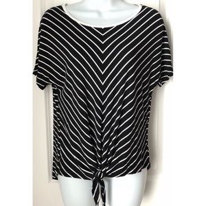 Cable & Gauge Striped Tie Front Short Sleeve Top